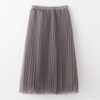 70%OFF【レディース】 プリーツチュールスカート - セシール ■カラー:グレイッシュモーヴ ■サイズ:L,M
