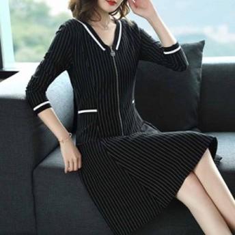 レディース ワンピース ストライプ トレンド カジュアル 韓国ファッション 人気 気質
