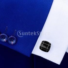 8d542f98e5142 FLAMEER カフスボタン メンズ おしゃれ 結婚式 装飾的な スーツ シャツ 黒瑪瑙カフス