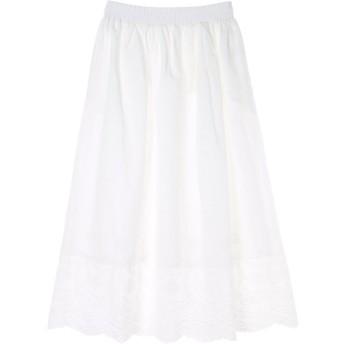 グリーンパークス Green Parks カットワーク刺繍ロングスカート (Off White)