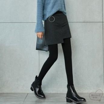 スカート付きレギンスレディース裏起毛タイトスカートタイツおしゃれかわいいアシンメトリースリット大人きれいめ可愛い