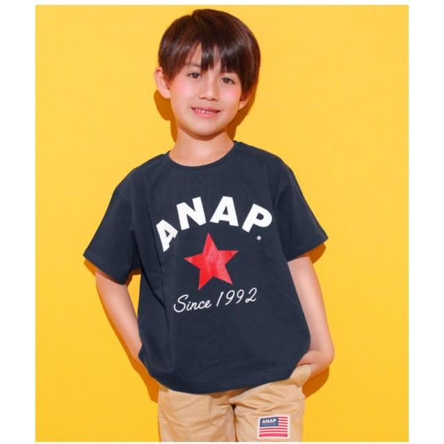 【50%OFF】 アナップキッズ スターロゴプリント ビックTシャツ レディース ネイビー 110 【ANAP KIDS】 【セール開催中】