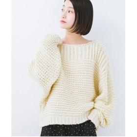 haco! 手編み風ガーター編みがかわいいざっくり女っぽニット(アイボリー)