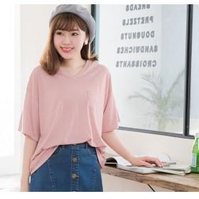 ユメテンボウ 夢展望 胸ポケットTシャツ (ダスティーピンク(Vネック))