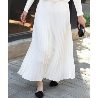 アンドジェイ ジョーゼットアコーディオンプリーツスカート レディース ホワイト M(90cm) 【ANDJ】