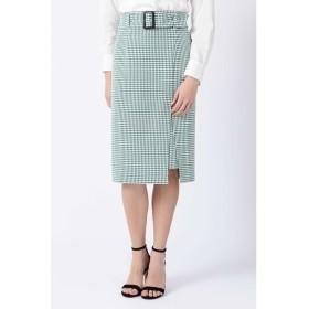 ◆ギンガムストレッチラップレイヤードスカート グリーン1