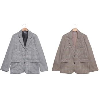 ジャケット・ブルゾン - ONNY SHOP 【MERONGSHOP メロンショップ】グレンチェックシングルジャケット P000BTML 韓国 ファッション韓国ファッションレディース