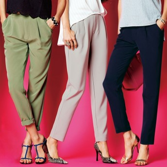 ベルーナ 美シルエットタックパンツ ネイビー L レディースフルレングスパンツ 春 夏 パンツ ズボン レディースファッション アパレル 通販 大きいサイズ コーデ 安い おしゃれ お洒落 30代 40代 50代 女性