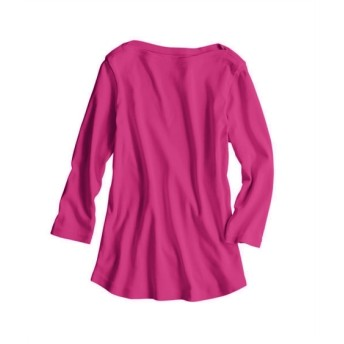 UVカット綿100%フライス素材ボートネック7分袖Tシャツ (Tシャツ・カットソー)(レディース)