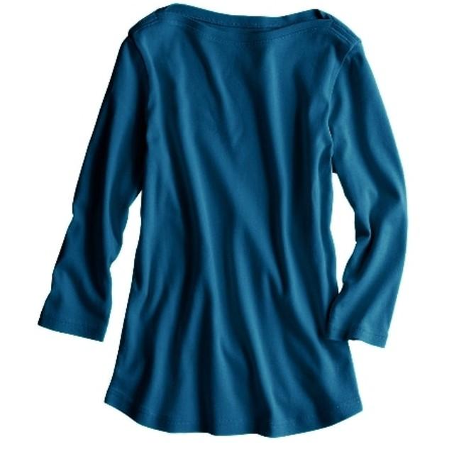 UVカット綿100% フライス素材ボートネック 7分袖 Tシャツ