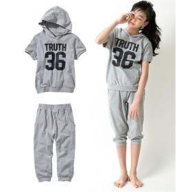綿100% 半袖パーカー+クロップドパンツ上下セット(女の子 子供服。ジュニア服) キッズパジャマ