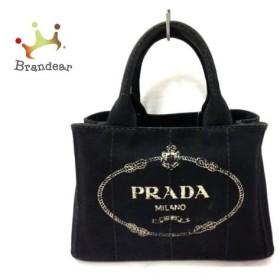 プラダ PRADA トートバッグ CANAPA 黒×白 キャンバス  値下げ 20190315