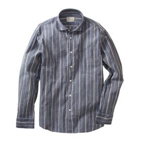 CANTERBURY WOOD(カンタベリーウッド)綿麻ストライプ柄長袖シャツ カジュアルシャツ