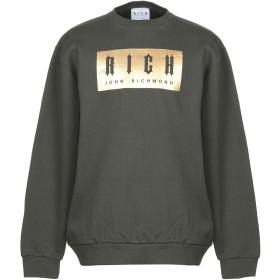 《送料無料》JOHN RICHMOND メンズ スウェットシャツ ミリタリーグリーン XL コットン 100%