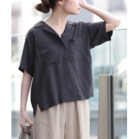【カタログ掲載】B:MING by BEAMS / レーヨン オープンカラーシャツ レディース カジュアルシャツ スミクロ M