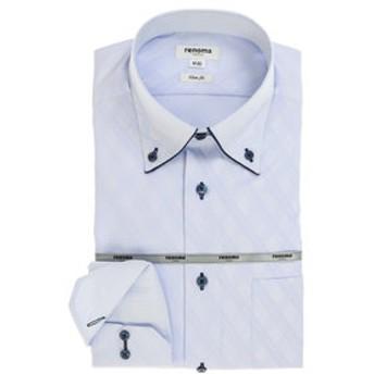 【TAKA-Q:トップス】形態安定スリムフィット ボタンダウン長袖ビジネスドレスシャツ