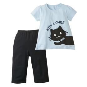 綿100% 前後ねこちゃんプリント半袖パジャマ(女の子 子供服。ジュニア服) キッズパジャマ