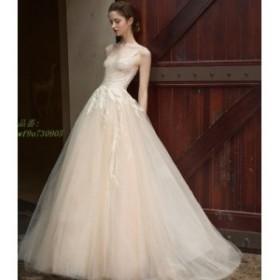 ウエディングドレス aライン 白 レース ボレル 安い ウェディングドレス 花嫁 結婚式 パーティードレス 二次会 ブライダル ロングドレス