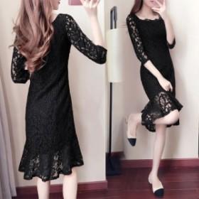 パーティードレス 総レース 黒 ブラック ワンピースドレス マーメイド フォーマル 大きいサイズ 結婚式 お呼ばれドレス 上品