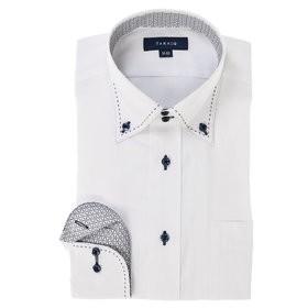 【TAKA-Q:トップス】形態安定レギュラーフィット ドゥエボットーニダブルピンステッチ長袖ビジネスドレスシャツ