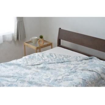 京都西川 4F9360#10 モダール生地使用 真綿 シルク 合い掛けふとん シングルロング ブルー