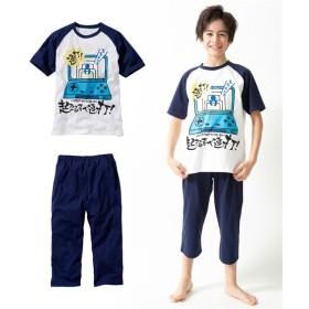綿100% おもしろメッセージプリント半袖パジャマ(男の子 子供服。ジュニア服) キッズパジャマ
