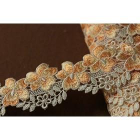 日本製95cm!幅4.6cm切り替えの豪華花柄ケミカルレース オレンジ/クリーム 14168