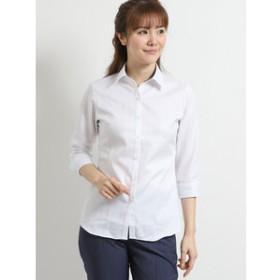 【TAKA-Q:トップス】綿100%形態安定レギュラーカラースキッパー7分袖シャツ