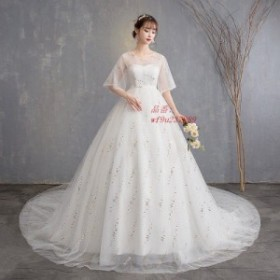 ウエディングドレス マタニティドレス エンパイア 半袖 結婚式 花嫁 ロングドレス サイズ 調節 大きいサイズ 二次会 パーティードレス w