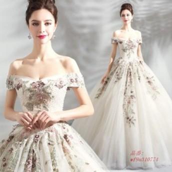 ロングドレス 演奏会用 カラードレス 安い パーティードレス 結婚式 エンパイア 二次会 ウエディングドレス プリンセスライン ピアノ 発