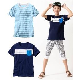 綿100%ポケット付半袖Tシャツ2枚組(ボーダー+胸ライン)(男の子。女の子 子供服。ジュニア服) Tシャツ・カットソー