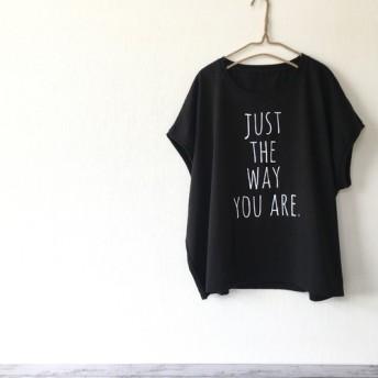 スリーブレスワイド レディースTシャツ(ブラック) トップス カットソー 春夏 可愛い