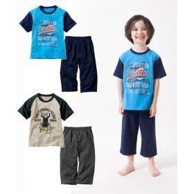 綿100% 配色プリント半袖パジャマ2セット組(Tシャツ2枚+パンツ2枚)(男の子 子供服。ジュニア服) キッズパジャマ