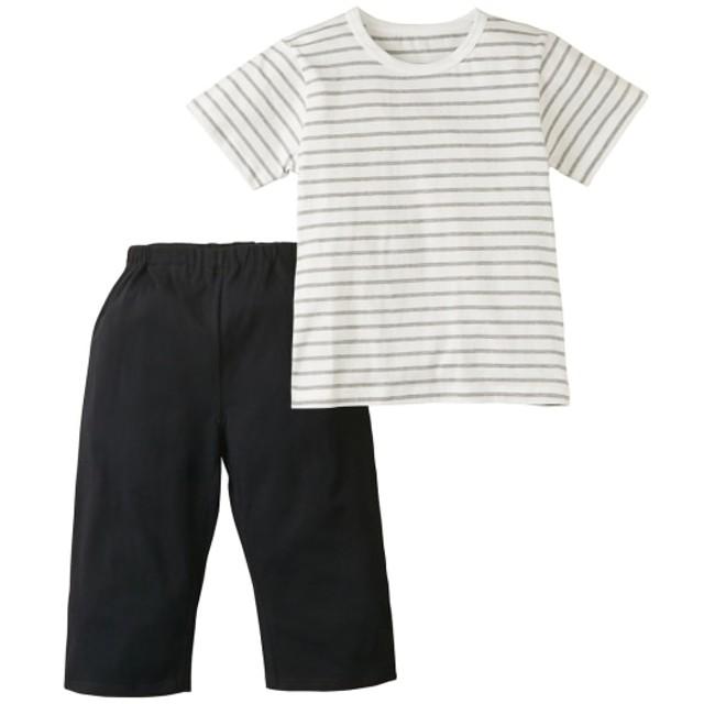 綿100% ボーダー半袖パジャマ(男の子。女の子 子供服。ジュニア服) キッズパジャマ