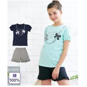 パジャマ キッズ 綿100% フェミニンプリント 半袖 女の子 子供服・ジュニア服  身長130〜165cm ニッセン
