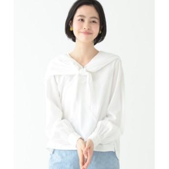 BEAMS BOY / セーラースカーフ 7分袖 シャツ レディース カジュアルシャツ WHITE ONE SIZE