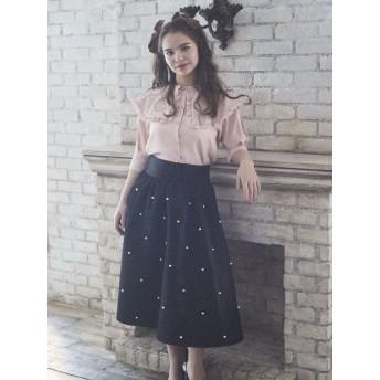 【5,000円以上お買物で送料無料】パール付きスカート