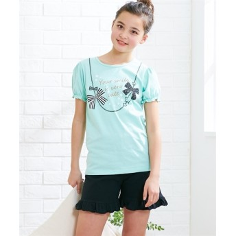 綿100% フェミニンプリント半袖パジャマ(女の子 子供服。ジュニア服) キッズパジャマ