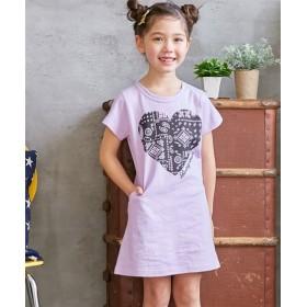 前プリントTワンピース(女の子 子供服。ジュニア服)ポケット付 ワンピース