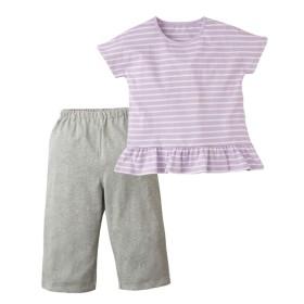 綿100% 裾フリルボーダー半袖パジャマ(女の子 子供服。ジュニア服) キッズパジャマ