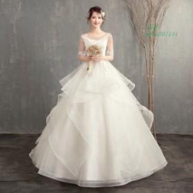 マタニティ ウェディングドレス エンパイア 花嫁 安い 白 シンプル 結婚式 袖あり ロングドレス 披露宴 二次会 パーティードレス 大きい