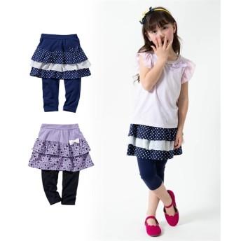 6分丈フリルスカッツ2枚組(女の子 子供服。ジュニア服) (スカート付パンツ)