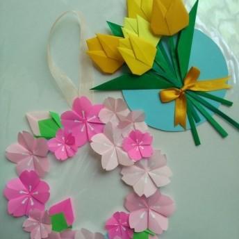[送料込み]折り紙リース 桜 チューリップ