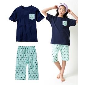 綿100%ポケット付半袖Tシャツ+総柄パンツパジャマ(男の子 子供服。ジュニア服) キッズパジャマ