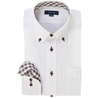 【TAKA-Q:トップス】形態安定レギュラーフィットドゥエボットーニボタンダウン長袖ビジネスドレスシャツ