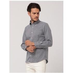 INTERMEZZO シルク混小紋シャープシャツ シャツ・ブラウス,ストーングレー
