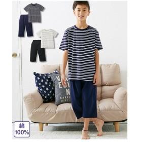 パジャマ キッズ 綿100% ボーダー 半袖 男の子 女の子 子供服・ジュニア服  身長110〜160cm ニッセン