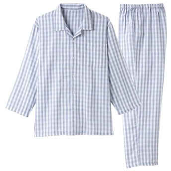 【メンズ】 ガーゼメンズシャツパジャマ - セシール ■カラー:チェックB ■サイズ:3L,L,5L,LL,M