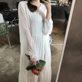 レトロ感漂う花柄ロングワンピース☆胸元リボン付き