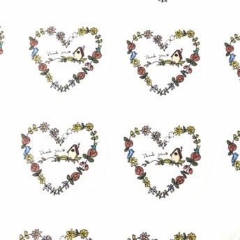 ガーリー!ハートの中の小さなおうちサンキューシール48枚【Yuccadesign】